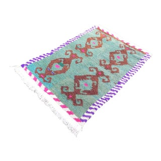 1970 Vintage Handmade Turkish Tulu Rug , Soft Angora Wool Carpet, Green Brown and Pink Pile Rug 3'4'' X 4'11'' / 101 X 150 CM For Sale
