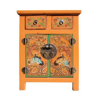 Chinese Oriental Distressed Orange Crane Flower End Table Nightstand