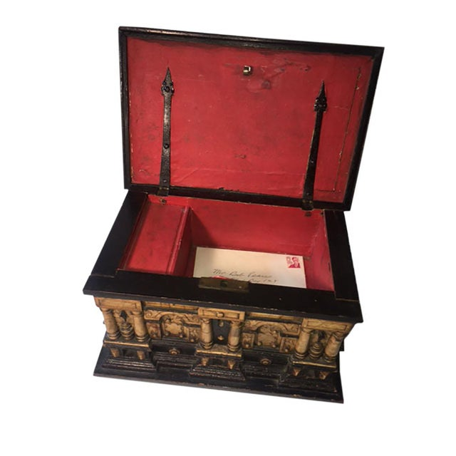 Gothic 17th Century Alabaster and Ebonised Wood Casket Malines Coffer For Sale - Image 3 of 7