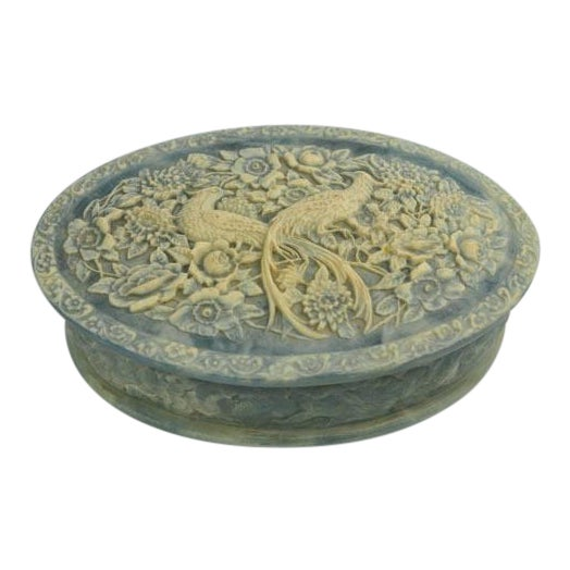 Birds of Paradise Incolay Stone Blue & White Cameo Oval Box For Sale