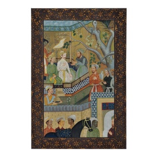 "Large (45""x68"") Persian Painting on Fabric Depicting a Courtyard Scene For Sale"