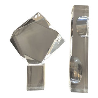 Rare Lucite Abstract Sculpture by Hivo Van Teal, Circa 1970s, Set of 2 For Sale