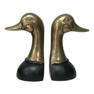Midcentury Brass Duck Head Bookends - a Pair For Sale