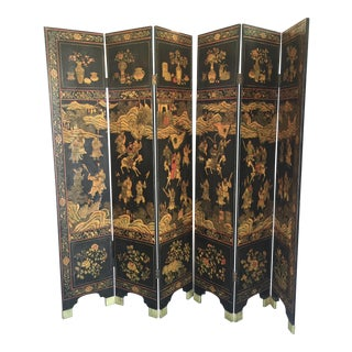 Antique Lacquered Chinese Screen 6 Panels
