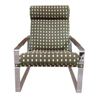 Milo Baughman Style Chrome Lounge Chair