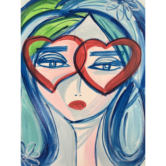 Original acrylic face painting on gallery wrapped canvas in bold and vibrant colors that will easily become a focal point...