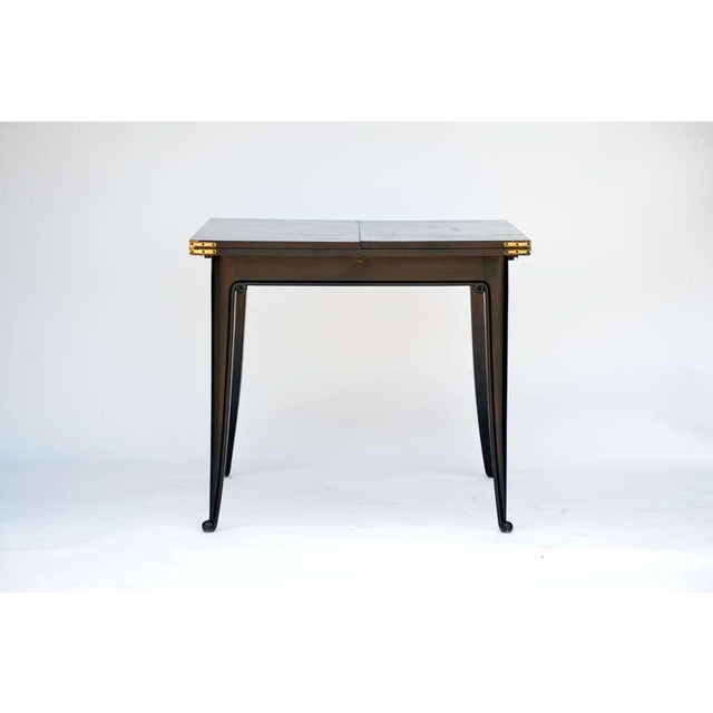 Chic Ebonized French 40's Folding Center / Dining table. Beautiful contrasting light wood surface when opened. Length when...