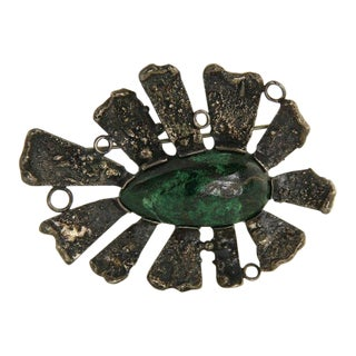 Brutalist Israel Silver & Eilat Stone Brooch For Sale