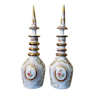 Late 19th Century Bohemian Enameled Gilt Art Glass Decanters - a Pair For Sale
