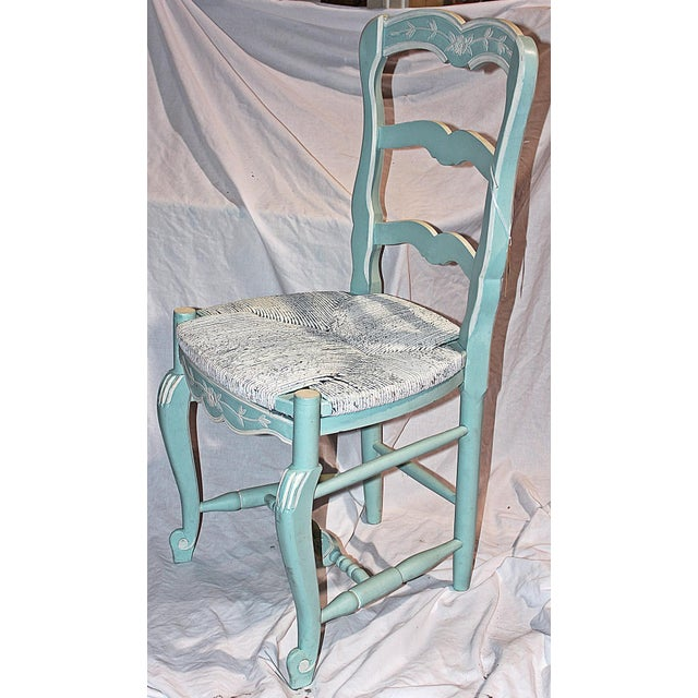 French Country French Country Pale Blue Chair For Sale - Image 3 of 6