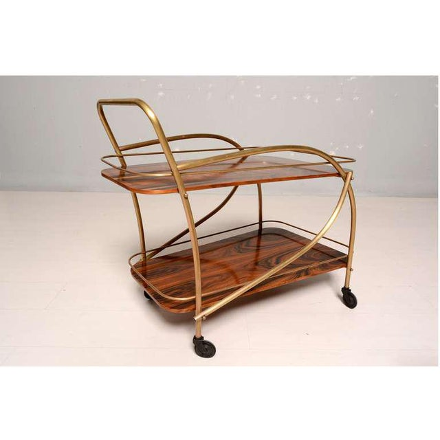 Brass Brazilian Rosewood Double Deck Service Cart For Sale - Image 7 of 10
