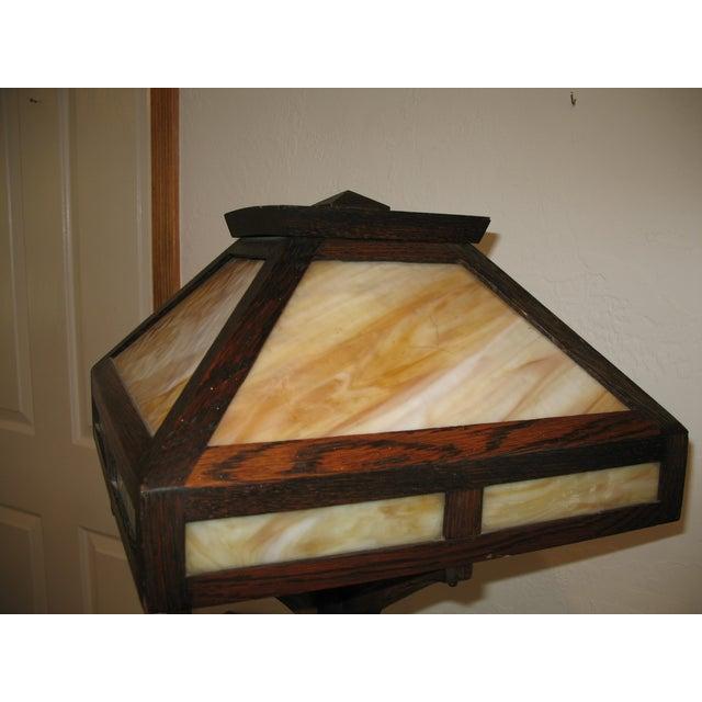 Vintage Antique Arts & Crafts Mission Oak Lamp - Image 5 of 7
