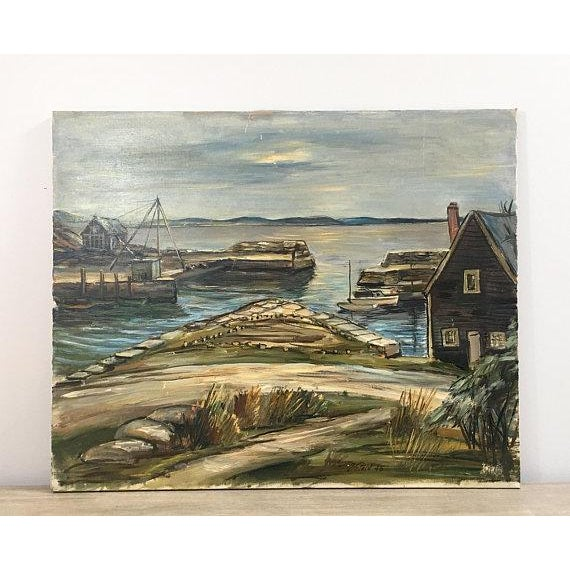 "1940s Original ""New England Wharf Harbor"" Signed Oil Painting by Vetold Pasternacki For Sale - Image 11 of 11"