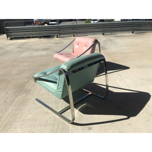 Mid-Century Modern 1970's Vintage Grasshopper Chrome Steal Lounge Chairs- A Pair For Sale - Image 3 of 11