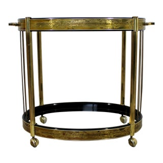 Art Deco Bernard Rohne Mastercraft Acid Etched Serving Bar Cart For Sale