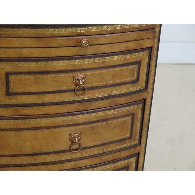 Leather 1990s Art Deco Maitland Smith Bow Front Leather Bachelor Chest For Sale - Image 7 of 13