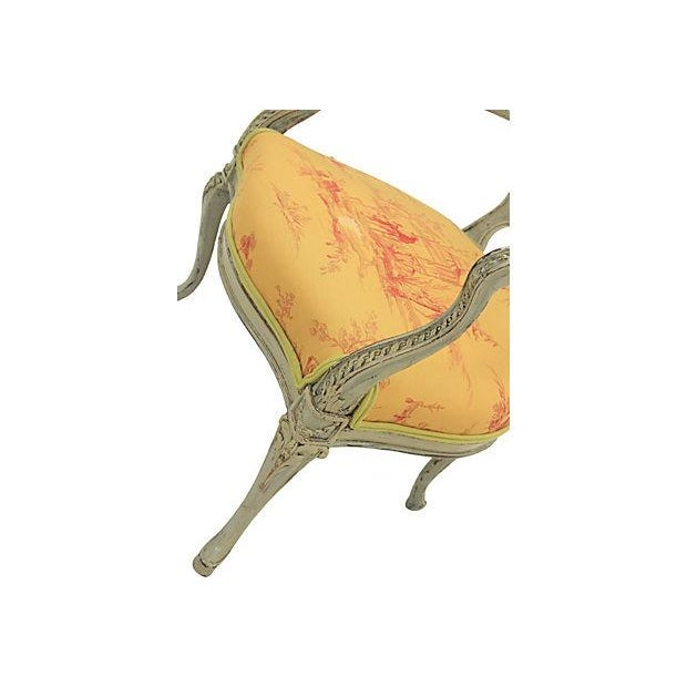 Antique Yellow Fauteuil Chairs - A Pair - Image 6 of 7