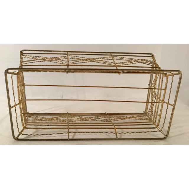 Mid Century Expanded Gold Metal Basket For Sale In Dallas - Image 6 of 8