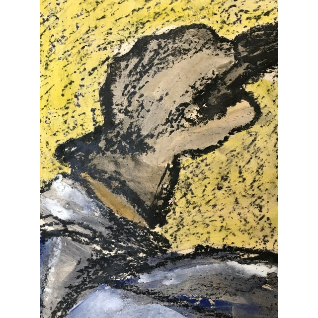 Americana 1960s Bay Area Art Oversized Gouache and Oil Pastel For Sale - Image 3 of 6