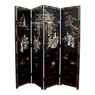 Mid 20th Century Chinese Four-Panel Lacquered Coromandel Screen With Mother-Of-Pearl Inlay For Sale