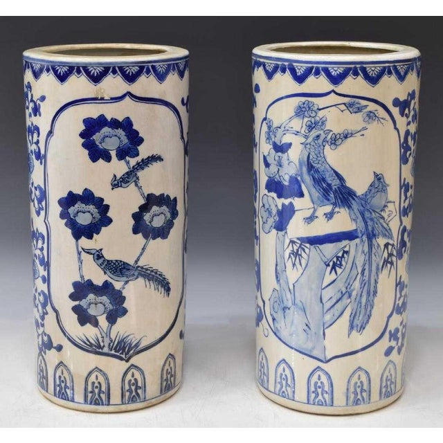 Chinese Blue & White Porcelain Hat Stands - a Pair For Sale - Image 4 of 4