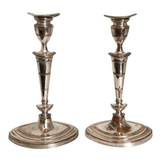 Neoclassical Candlesticks Barker Ellis Silver Co - a Pair For Sale
