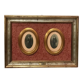 Antique Photographs in Custom Frame - A Pair For Sale