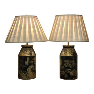 Black Lacquer Lamps With Shades - a Pair For Sale