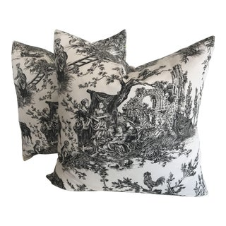 Black and White Toile Pillows - a Pair