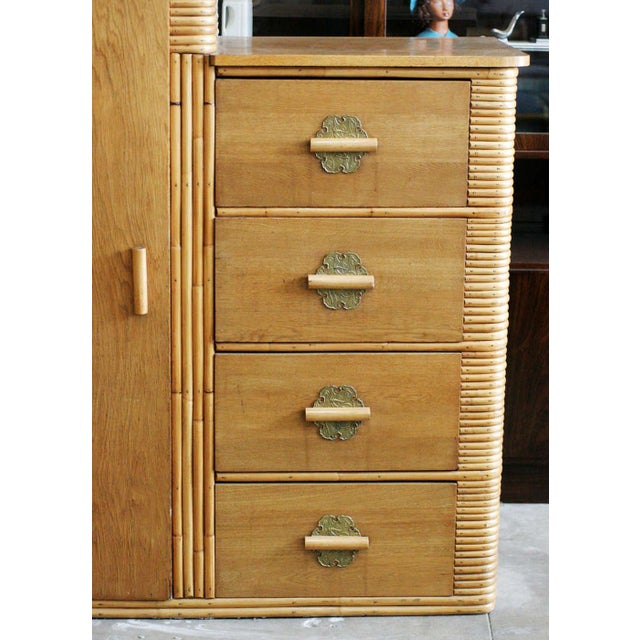Rare Vintage Stacked Rattan Armoire - Image 3 of 8