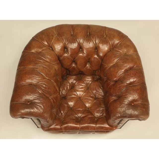 Antique Chesterfield Chair in Original Leather For Sale - Image 11 of 11 - Superior Antique Chesterfield Chair In Original Leather DECASO