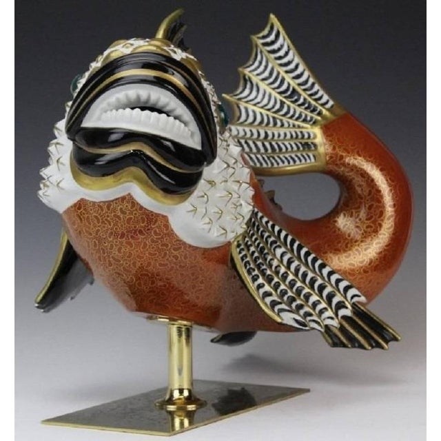 Ceramic 1970s Vintage Mangani for Oggetti Hand-Painted Fish Model For Sale - Image 7 of 8