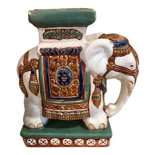 Chinoiserie Ceramic Elephant Bookend or Plant Stand For Sale