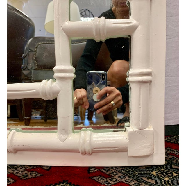Mid Century Chippendale White Laquer Faux Bamboo Mirror For Sale - Image 4 of 5