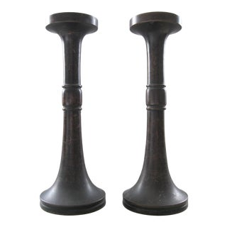 Antique Asian Bronze Candlesticks - a Pair For Sale