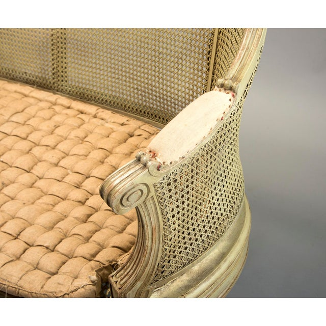 Gold Painted Louis XVI Style Large Caned Settee With Original Cushion For Sale - Image 8 of 11
