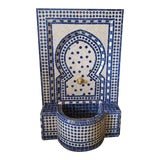 Image of White & Blue Moroccan Mosaic Fountain For Sale