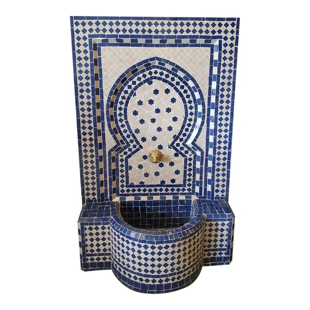 White & Blue Moroccan Mosaic Fountain For Sale