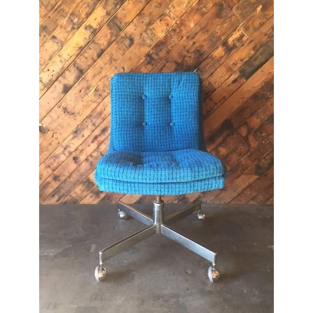 Vintage Reupholstered Rolling Office Chair - Image 2 of 6