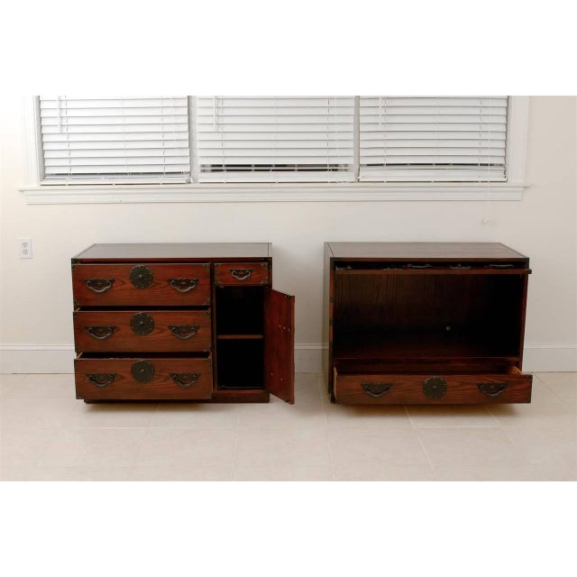 Baker Furniture Company Amazing Pair of Vintage Modern Tansu Chests by Baker For Sale - Image 4 of 10