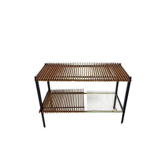 Mid Century Italian Wood Slat and Glass Console - Image 7 of 7