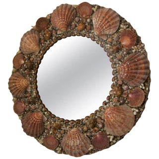 Round Rose Colors Seashell Encrusted Wall Mirror For Sale