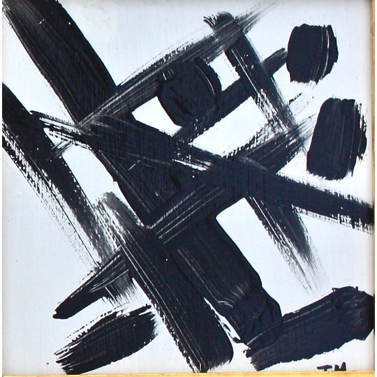 Black & White Abstract Paintings - A Pair - Image 3 of 5
