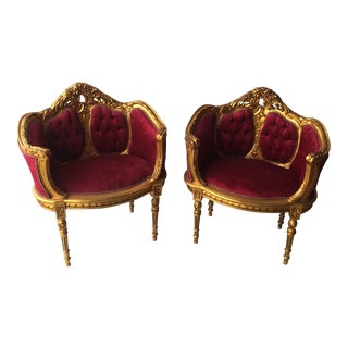 Antique Gilt Red Velvet Chairs - a Pair For Sale