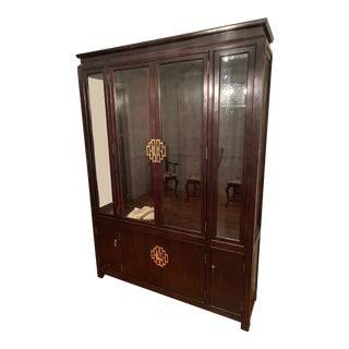 1970s Chinoiserie Century Furniture Chin Hua Line China Cabinet For Sale