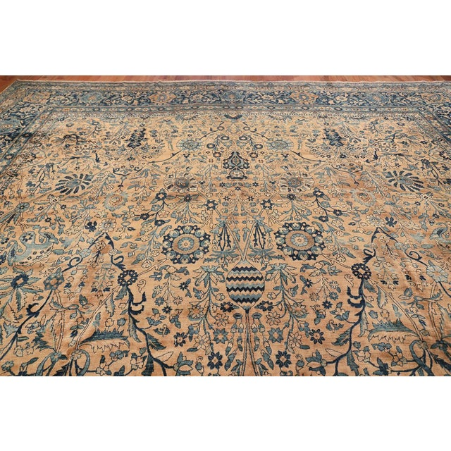 Textile Antique Persian Kerman Oversized Vase Design Carpet - 13′6″ × 25′5″ For Sale - Image 7 of 13