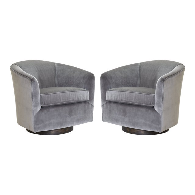 Swivel Tub Chairs in Fog Velvet With Walnut Bases, Pair For Sale