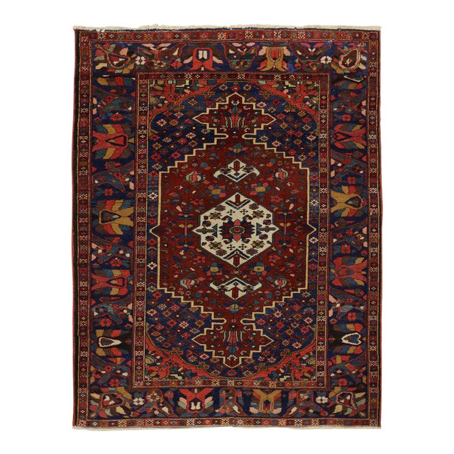 Antique Bakhtiari Persian Rug with Traditional Modern Style For Sale