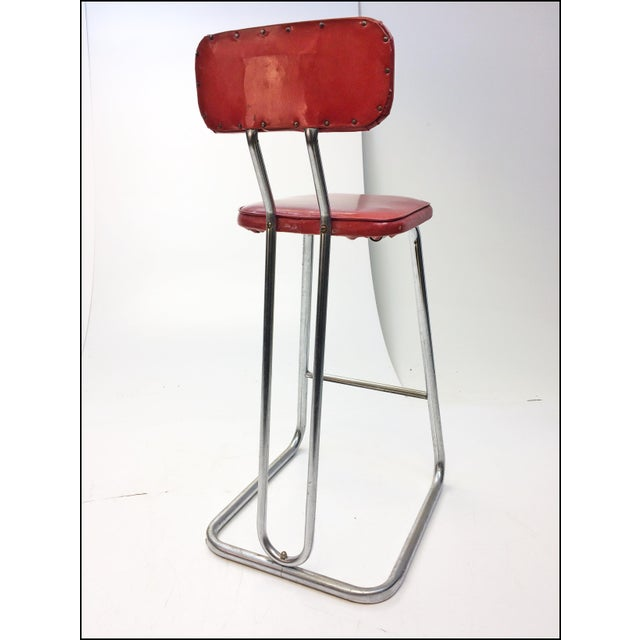 Mid Century Modern Red Vinyl Bar Stool - Image 7 of 11