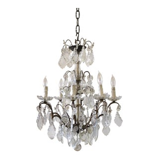 20th Century Antique Brass and Crystal Chandelier For Sale